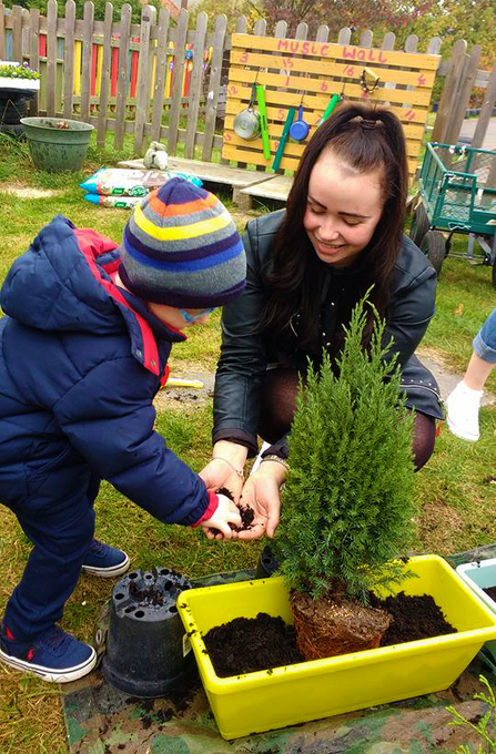 Planting fun at Blossoms Nursery