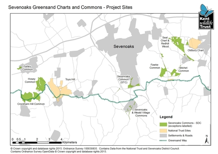 Sevenoaks Greensand Commons Project Sites Map