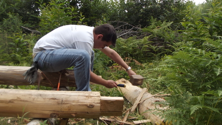 Making resting benches at Cromer's Wood